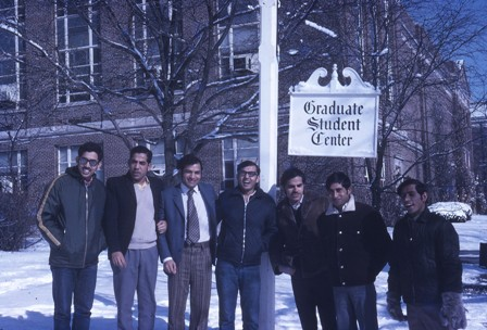 1969 Enjoying snow with grad students in Cincinnati University, Ohio