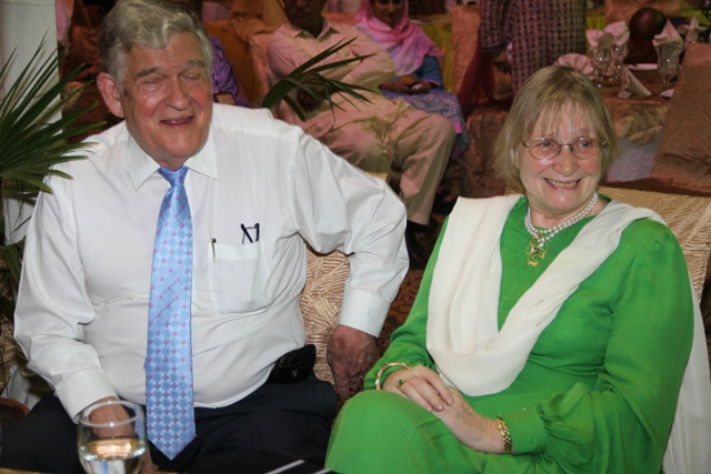 The author with her husband, Dr Peter Armaocst, at a farewell dinner given by staff and faculty, July 2012