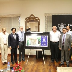 Postmaster General Punjab and Rector FCC unveil FCC Commemorative Stamp
